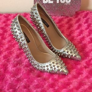 Spiked Silver Heels